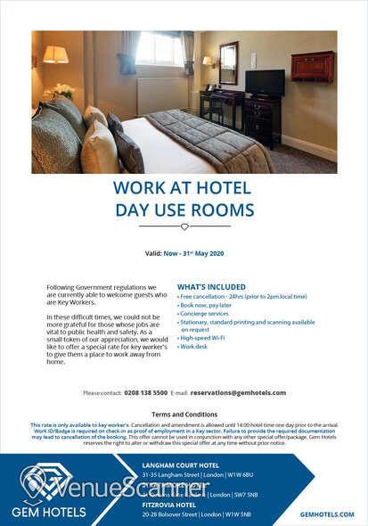 Hire Fitzrovia Hotel Portland Suite 2