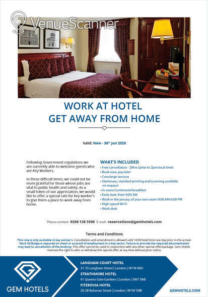 Hire Fitzrovia Hotel Portland Suite 3